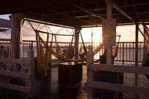 Sunset over the East China Sea viewable from the Hammock cafe at Umikaji Terrace on Senaga Island