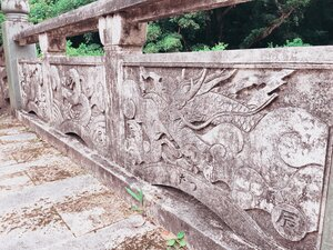 The intricate stone work for the sides of the bridge