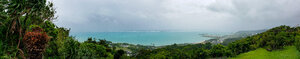 A panorama from outside Cafe Curcuma overlooking the Pacific.