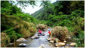 Kids trekking the Ura River