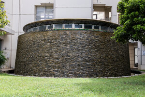 The fountain outside Naha City's Water and Sewer Department Water Salon Museum