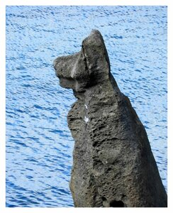 A close up of the Henan River dog rock, a natural rock formation along Route 58 in northern Okinawa