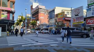 This intersection somewhat marks the center of Kokusai Street and is recognized by the Starbucks on the corner