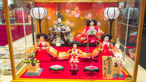 Hina dan with hina dolls on display to be purchased on Girls' Day in Japan