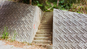 A stairway marked with a red triangle that leads to the trail to Conical Hill