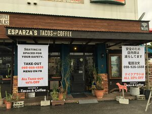 Esparza's Tacos and Coffee practicing social distancing by rearranging seating and offering takeout