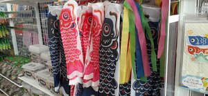 Here are some koi nobori (carp streamers) that can be hung outside your house.