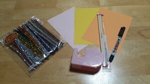 Supplies to make koi nobori (carp streamers)