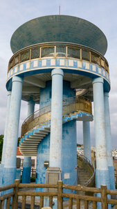 A spiral staircase to the top of the observation tower in Santinmo Park
