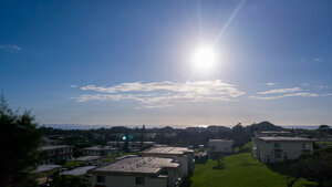 A view of the sunset, overlooking Kadena Air Base, to the East China Sea.