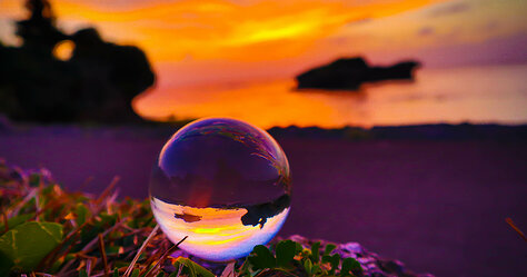 Toguchi Beach Crystal Ball Sunset